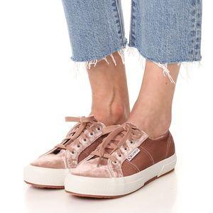 New! Blush Velvet Sneakers!